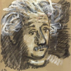 Albert Einstein (1959), charcoal and watercolor drawing by Alexander Dobkin