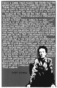 Woody Guthrie woodcut