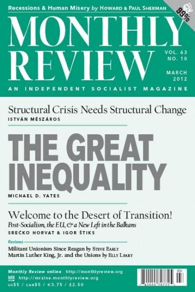 Monthly Review Volume 63, Number 10 (March 2012)
