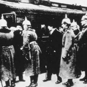 The Soviet delegation arrives at Brest-Litovsk. Lev Trotsky is in the center surrounded by German officers