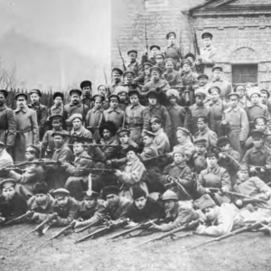 A detachment of worker Red Guards poses for a photograph before departing for the front. Photograph by Ia. Shteinberg