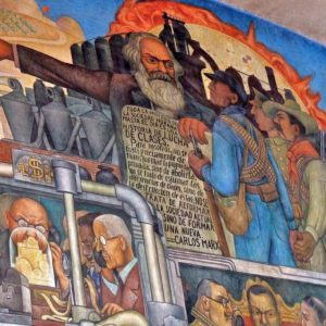 "Section of the Diego Rivera's mural ""From the conquest to 1930"" focusing on Marx and the class struggle"