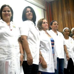 Healthcare workers celebrating in Cuba