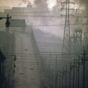 Dark Clouds of Factory Smoke Obscure Clark Avenue Bridge in Cleveland, Ohio in 1973