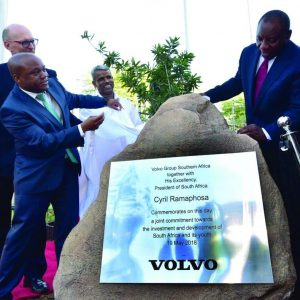 President Cyril Ramaphosa at a commemoration ceremony for Volvo Group