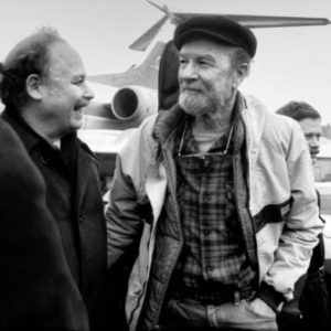 February 1986, East Berlin. Victor Grossman, left, greets Pete Seeger, a guest at the Festival of Political Songs.
