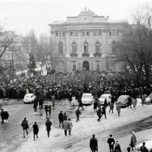 Polish students, their teachers and others gather in front of universities to protest in March 1968
