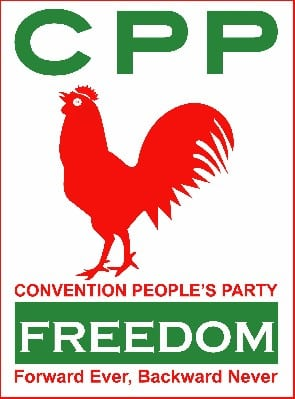 "Red cockerel, ""Forward Ever, Backward Never"": Convention People's Party logo and slogan"