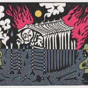 Bonehouse - Linocut Print by Sophy Hollington