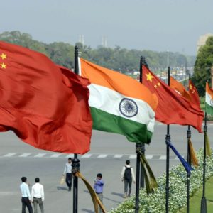 Indian and Chinese national flags flutter side by side at the Raisina hills in New Delhi, India, in this file photo