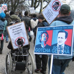 Disability rights activist outside Scottish Parliament, 30 March 2013