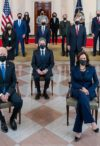 President Joe Biden and Vice President Kamala Harris, joined by the Presidential Cabinet members, pose for a Cabinet portrait Thursday, April 1, 2021, in the Grand Foyer of the White House