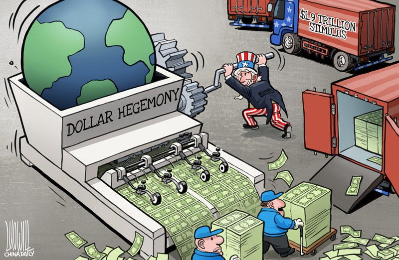Dollar hegemony by Luo Jie for China Daily.