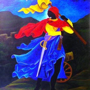 Marie Jeanne Lamartiniere, the Haitian revolutionary who fought at Crête-à-Pierrot in 1802. Painting by Patricia Brintle (2012)