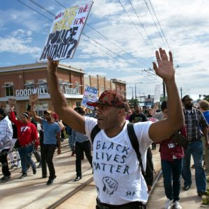 St. Paul, Minnesota September 20, 2015 around 100 protesters blocked the light rail line in St. Paul to protest the treatment of Marcus Abrams by St. Paul police