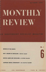 Monthly Review Volume 1, Number 6 (October 1949)