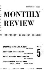 Monthly Review Volume 2, Number 5 (September 1950)