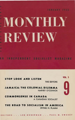 Monthly Review Volume 3, Number 9 (January 1952)