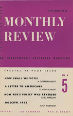 Monthly Review Volume 4, Number 5 (September 1952)