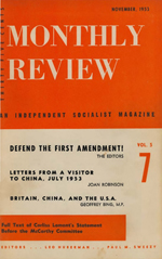 Monthly Review Volume 5, Number 7 (November 1953)
