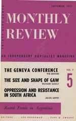 Monthly Review Volume 7, Number 5 (September 1955)
