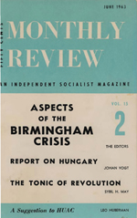 Monthly Review Volume 15, Number 2 (June 1963)