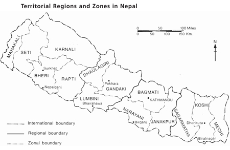 Map of Territorial Regions and Zones in Nepal