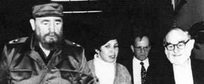 Fidel Castro, Juanita Rivera (Castro's longtime translator), Ricardo Alarcón, and Victor Rabinowitz.