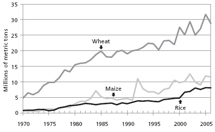 Chart 2: Grain imports to Africa 1970-2006