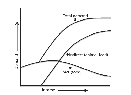 Chart 1: Direct and indirect demand for grain with rising income